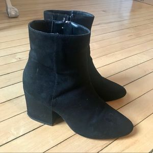 ASOS Black Sueded Stacked Heel Ankle Boots